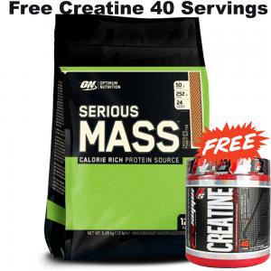 Optimum Nutrition Serious Mass Weight Gain Protein Powder 5.4kg + Free Creatine