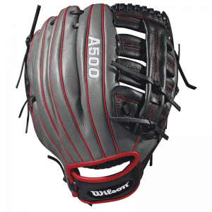 """Wilson 2018 A500 Baseball Gloves - Right Hand Throw Black/Red, 12.5"""" - Right Hand Throw"""