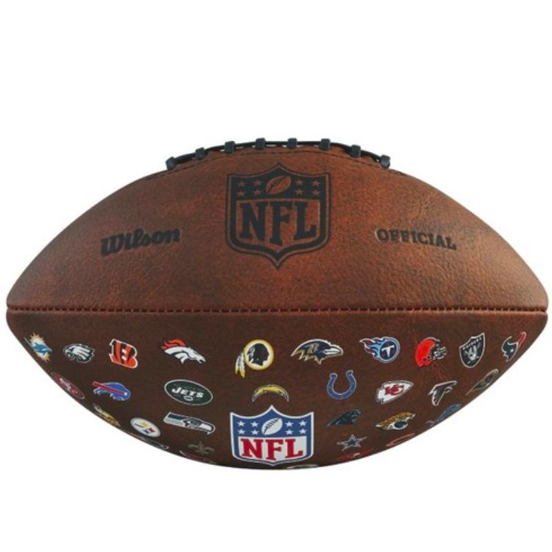 Wilson WTF1758XBNF NFL Throwback 32 Team Logo American Football Ball